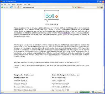 A screenshot from Bolt.com's distressed auction sale, January 2008