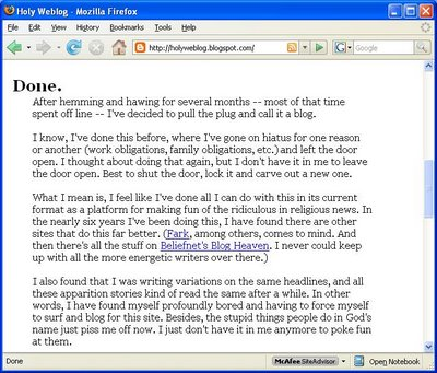 Holy Weblog Gives Up the Ghost