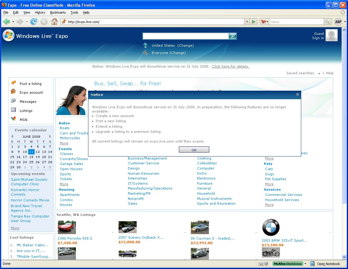 Windows live expo for Website similar to craigslist
