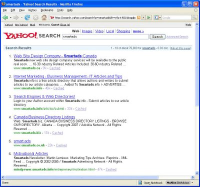 Yahoo SmartAds SERP, July 3, 2007